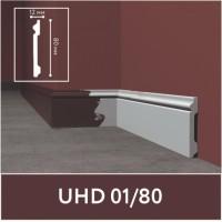 Плинтус напольный ударопрочный UHD01/80, белый, L2.0м/ ТМ Unica /11/